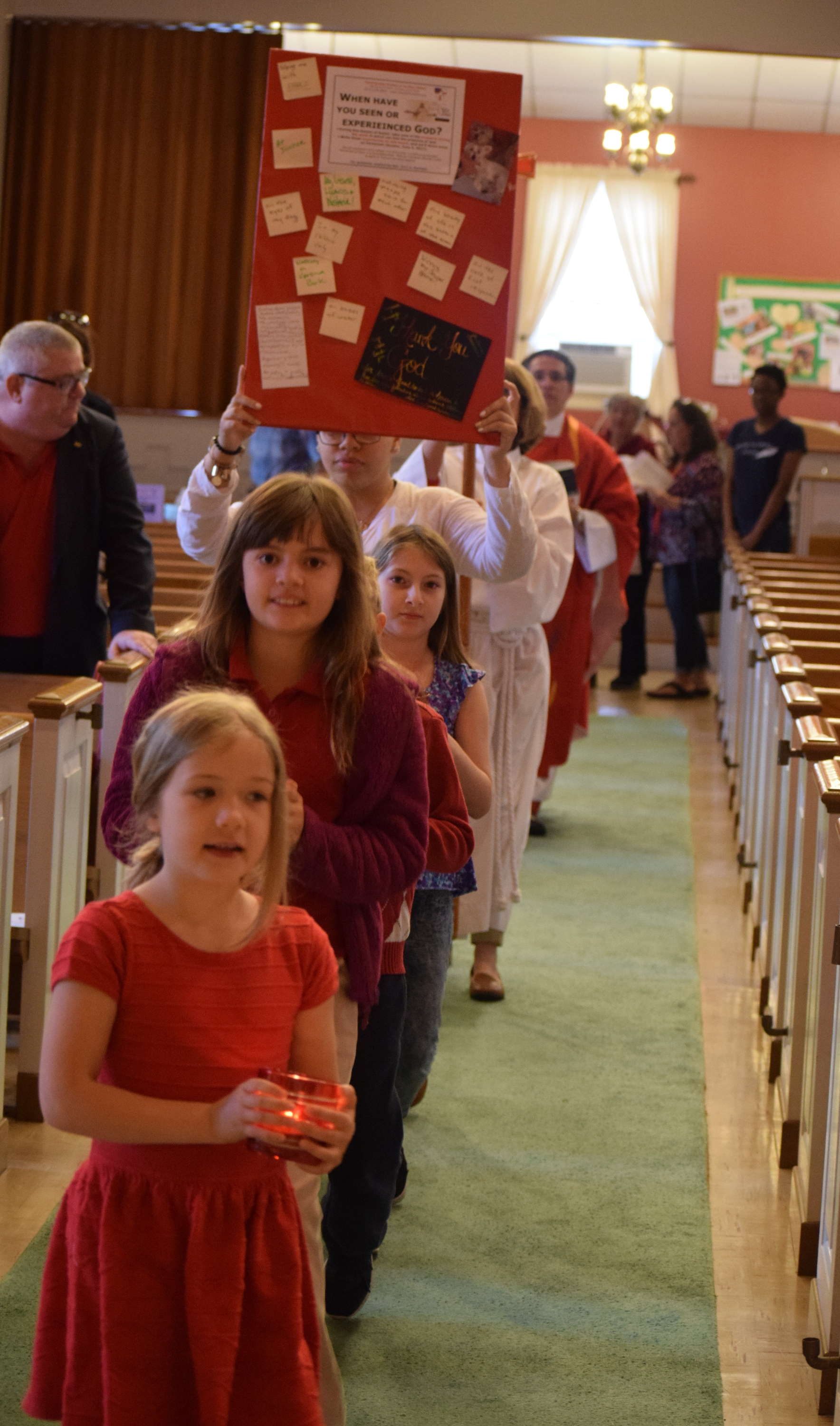 Sunday School Kids Lead the Procession